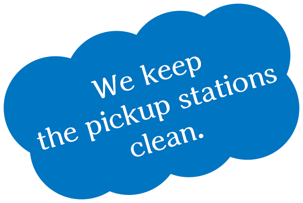 We keep the pickup stations clean.